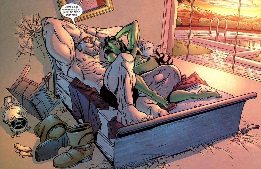 Mulher-Hulk e Fanático na cama